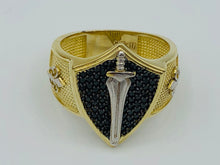 10kt Yellow Gold And Black Crystal Warrior Ring