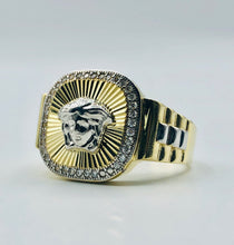 Men's 10kt Yellow Gold And White Gold with Cubic Zirconia Versace Ring
