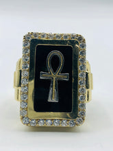Men's 10kt Yellow Gold And Cubic Zirconia Onyx Ring