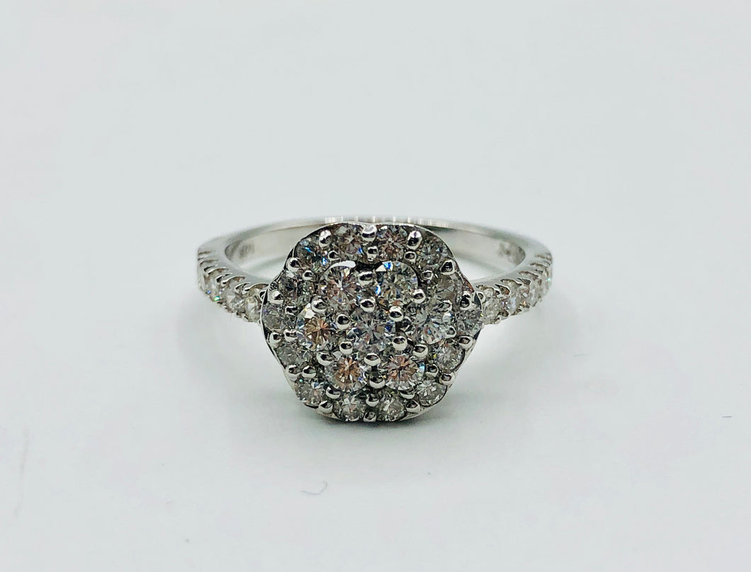 Ladies 14kt White Gold and 1 Ct Diamond Ring