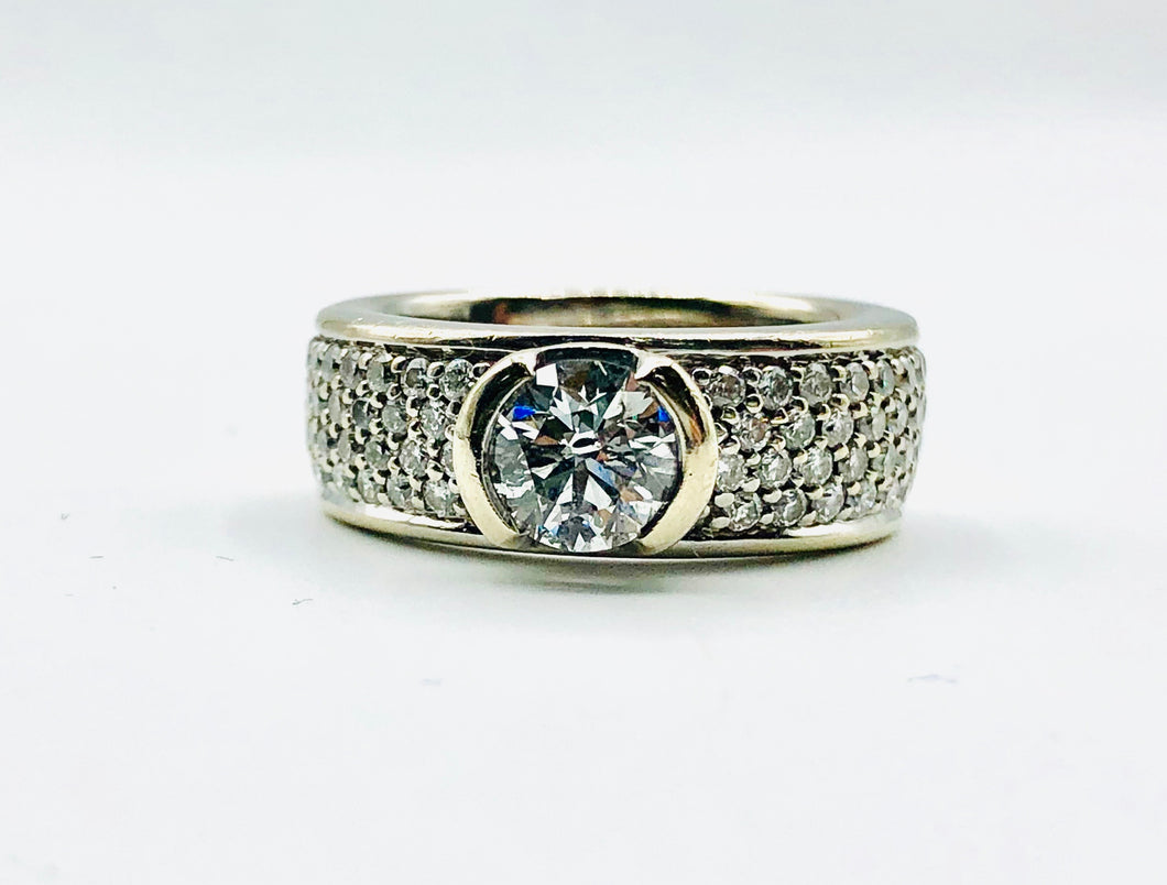 14kt White Gold Half Bezel And Pave Set Engagement Ring