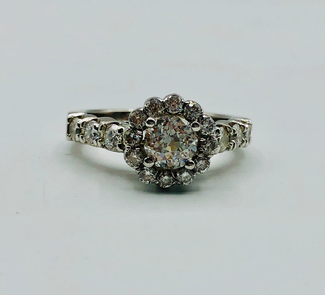 Ladies 14kt White Gold and Diamond Ring