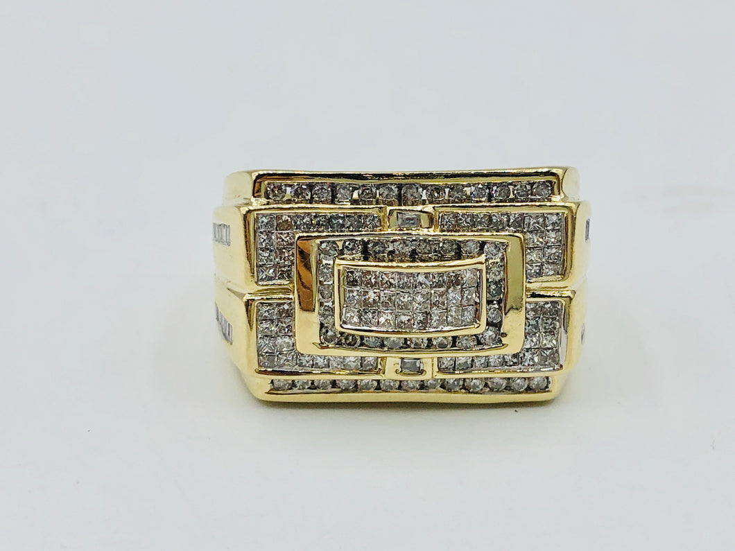 Men's 10kt Yellow Gold And 1.50 CT TWD Diamond Ring-77977-TPJR733YG