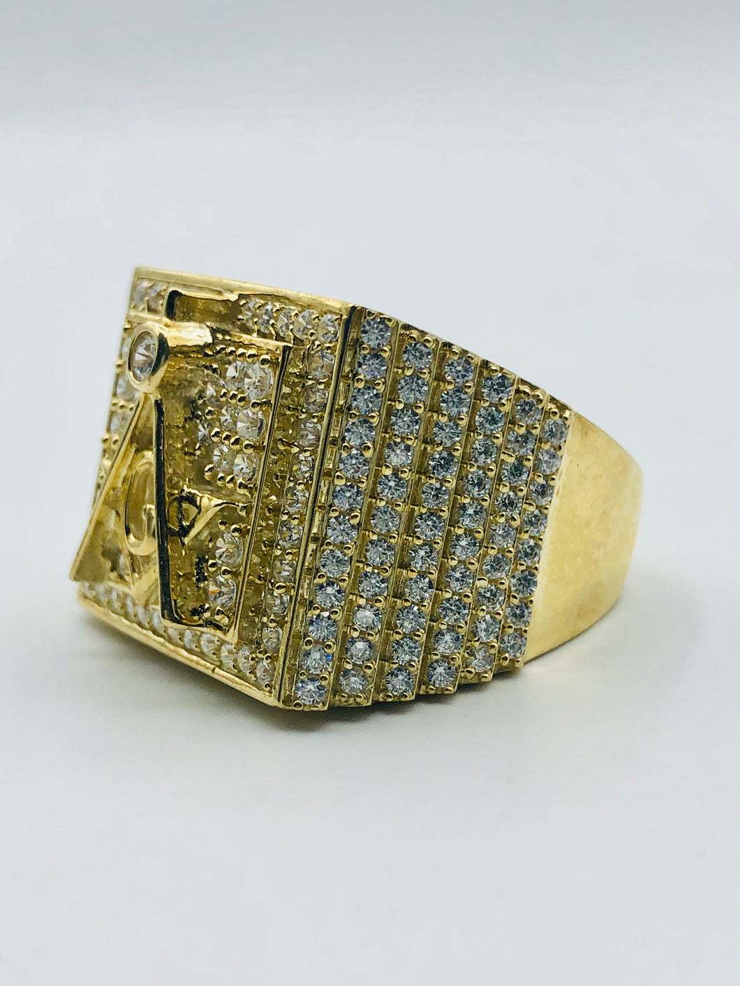 Men's 10kt Yellow Gold And Cubic Zirconia Ring