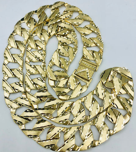 Mens 10kt yellow gold Diamond cut chain