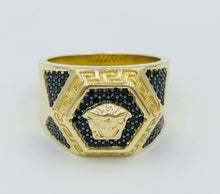 10kt Yellow Gold And Black Crystal Versace Ring