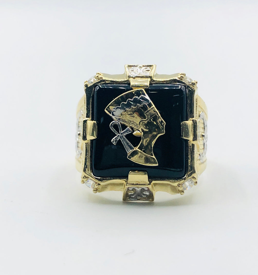 Mens 10kt Yellow Gold And White Gold Onyx Ring