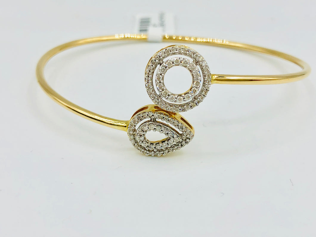 14k Yellow Gold and Diamond Cluff Bangle