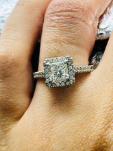 One Platinum Ring with Square Modified Brilliant cut Natural Diamonds
