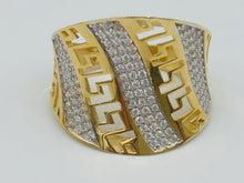 10kt Yellow Gold And White Crystal Versace Ring