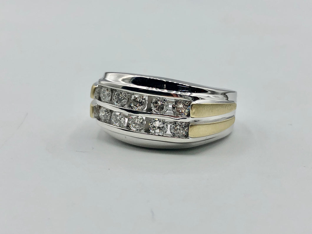 Men's 10Kt Yellow/White Gold And 1.00CT TWD Diamond Ring-CB95110