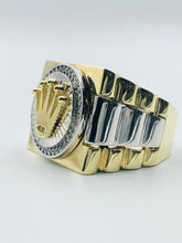Men's 10kt Yellow Gold And White Gold Rolex Symbol Ring