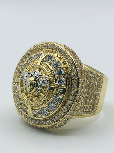 Men's 10kt Yellow Gold And White Gold Cubic Zirconia Ring
