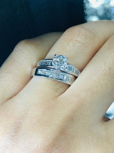 14k White Gold Princess Cut Diamond band set