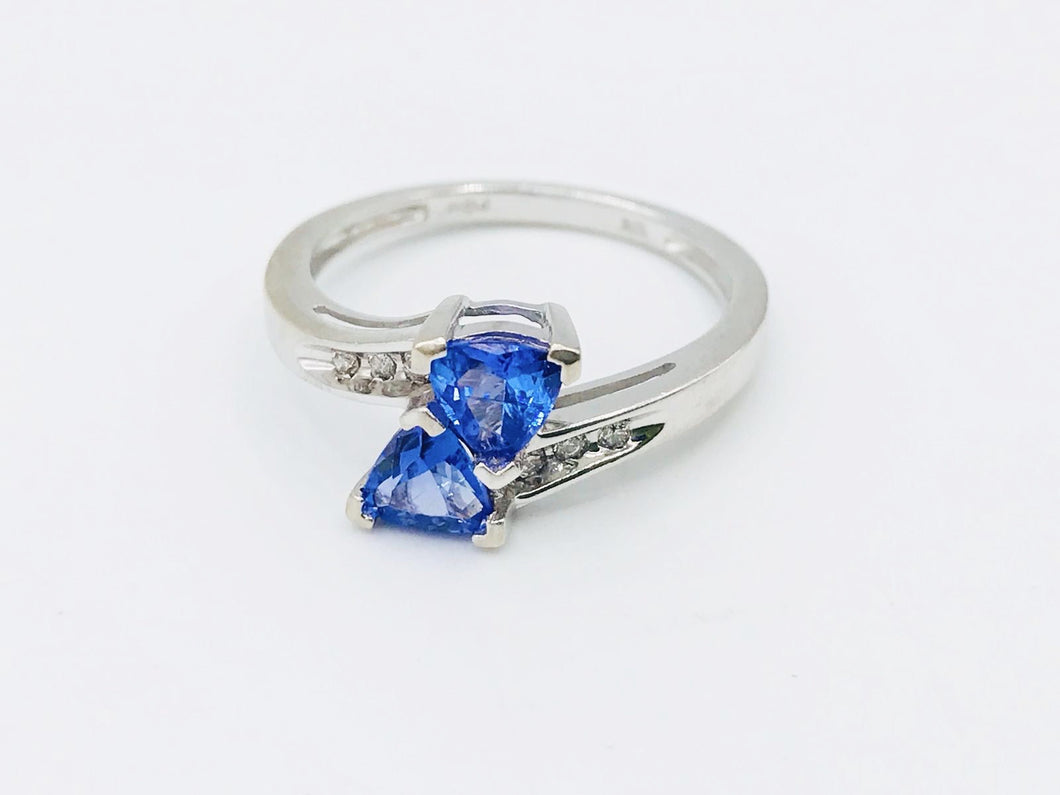 10kt White Gold Trillion cut Tanzanite Ring with Diamonds and Tanzanite pendant