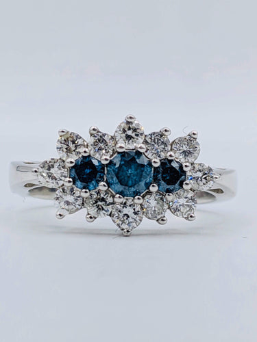 14kt White Gold Blue Diamond Ring