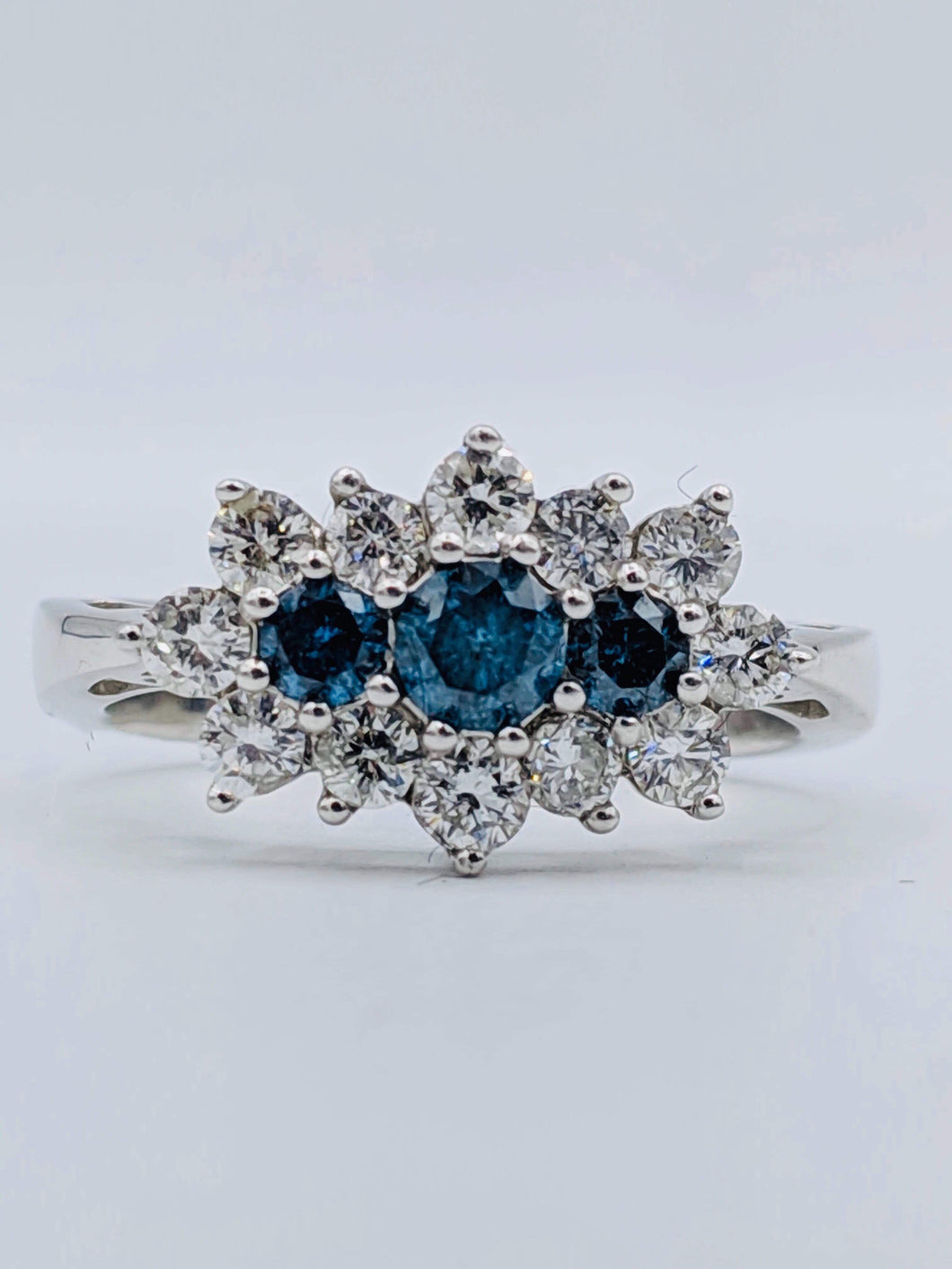 14kt White Gold Blue Diamond Ring (SOLD)