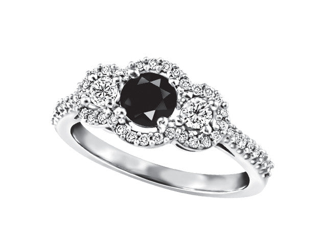 14k White Gold Black Diamond Engagement Ring J2211/BK-14KDOUPG13