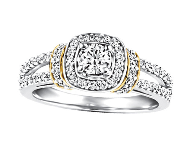 Two Tone Engagement Ring CWB2390/25-19w/18y-DOUP18