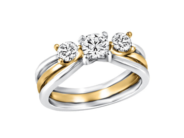 14k 2 tone Trilogy Engagement Ring CAD2450/70-14KDOUPG2