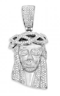 10Kt White Gold 1.00ctw Diamond Jesus Pendant
