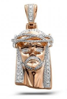 10Kt Rose Gold 0.75ctw Diamond Jesus Pendant with Solid Back