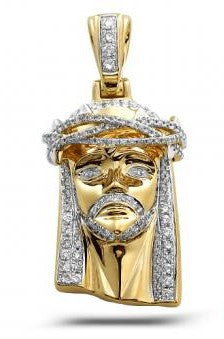 10KY 0.75ctw Diamond Jesus Pendant with Solid Back