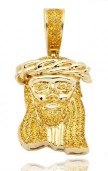 10KY 0.50ctw Yellow Diamond Miami Cuban Jesus Pendant