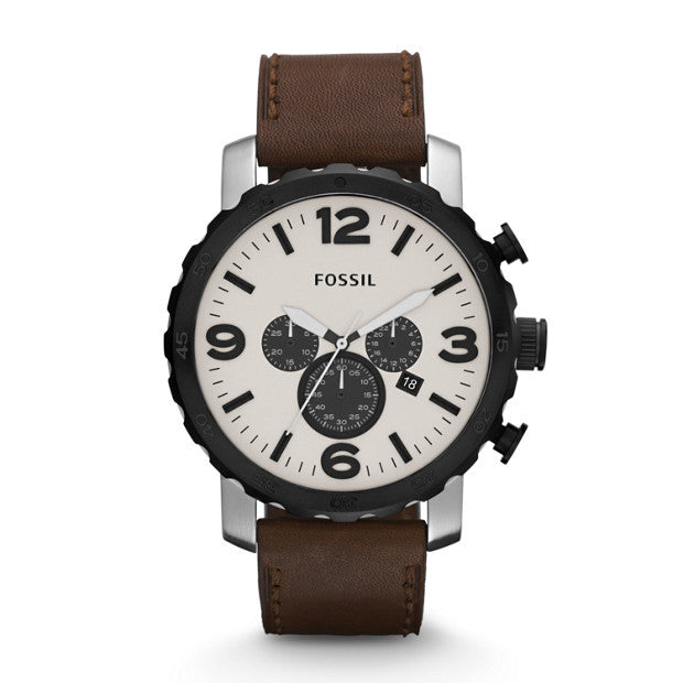 FOSSIL NATE CHRONOGRAPH BROWN LEATHER WATCH JR1390