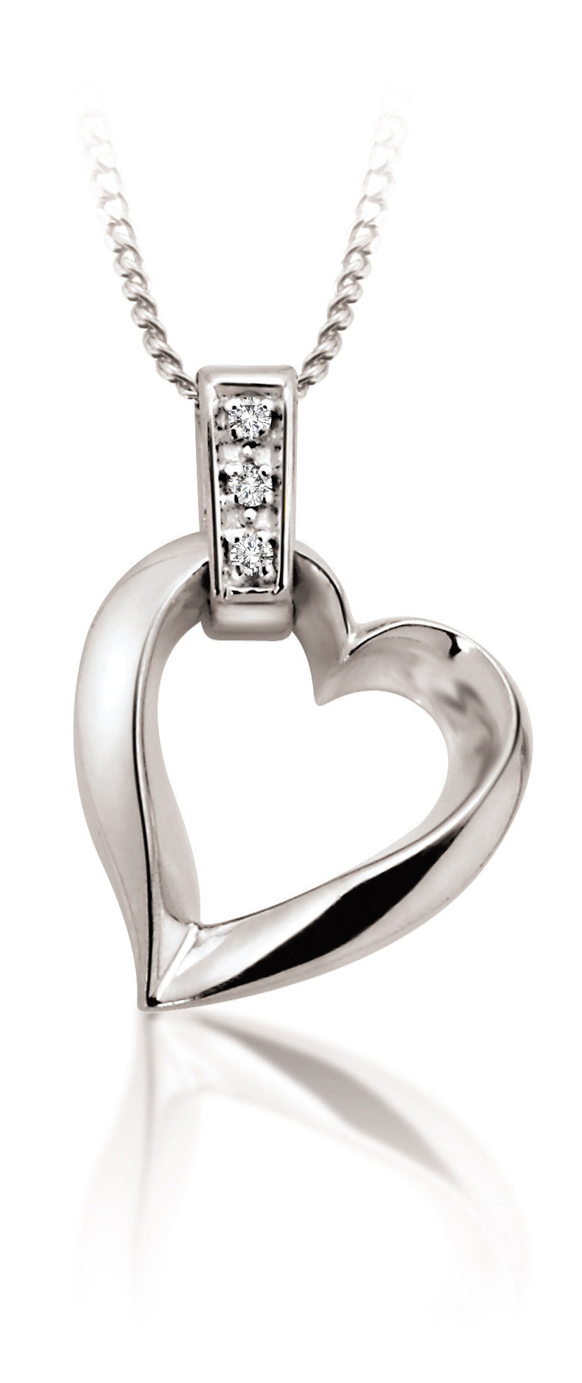 10Kt White Gold Heart Pendant with Diamond Band