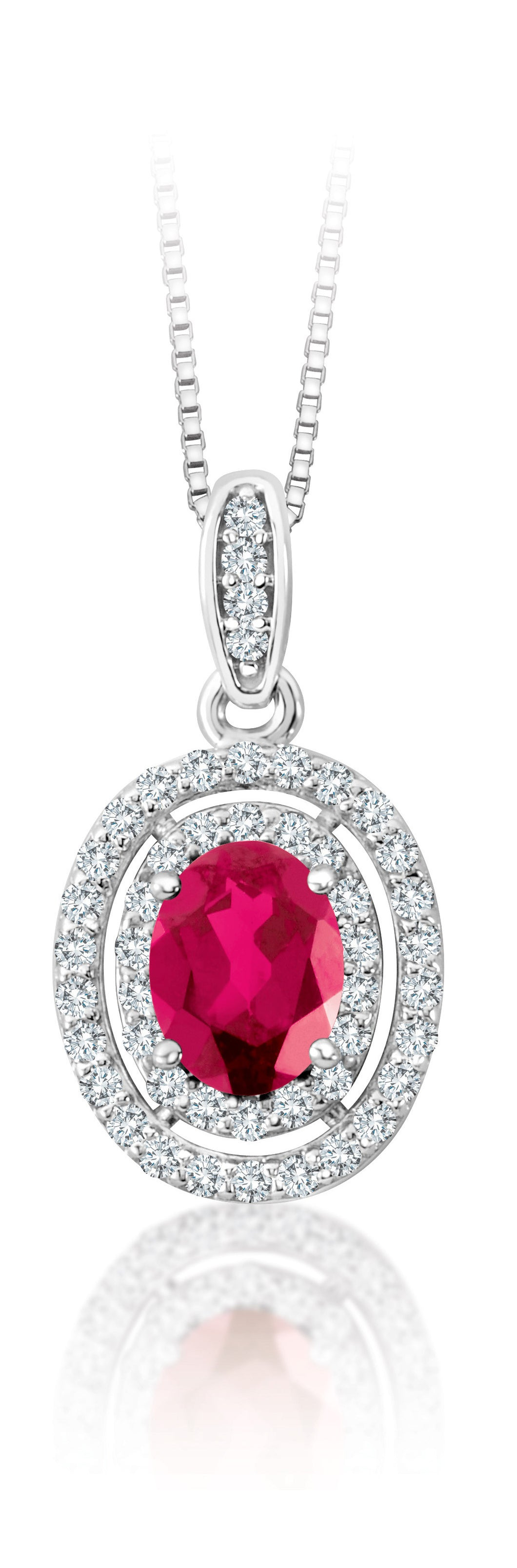 14Kt White Gold Ruby Diamond Double Halo Pendant