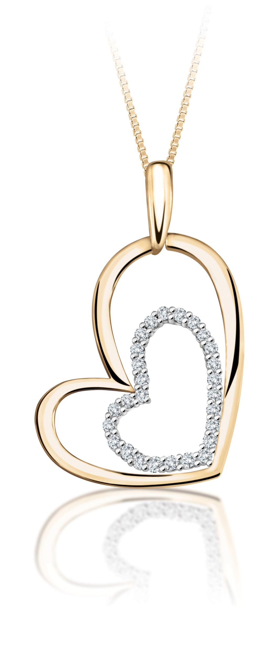 10Kt Yellow Gold Double Heart Diamond Pendant