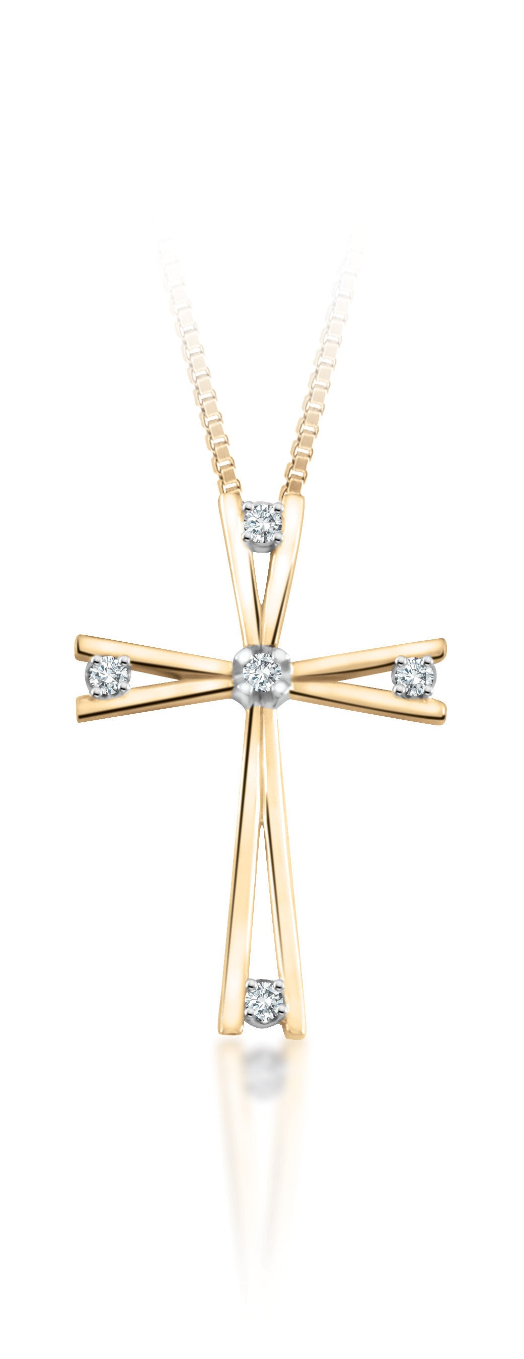10Kt Yellow Gold Diamond Cross Pendant