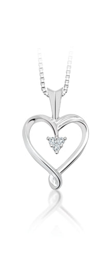 10 Kt Gold Swirl Heart Diamond Pendant