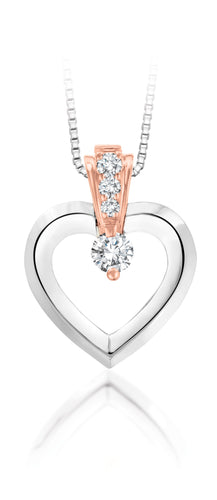 10Kt nWhite Gold Canadian Diamond Heart Pendant with Rose Gold Accent