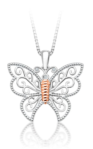 10Kt White Gold Butterfly Diamond Pendant