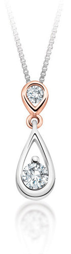 10Kt Gold Drop Diamond Pendant with Rose Gold Accent