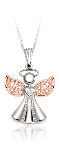 10Kt White Gold Diamond Angel Pendant