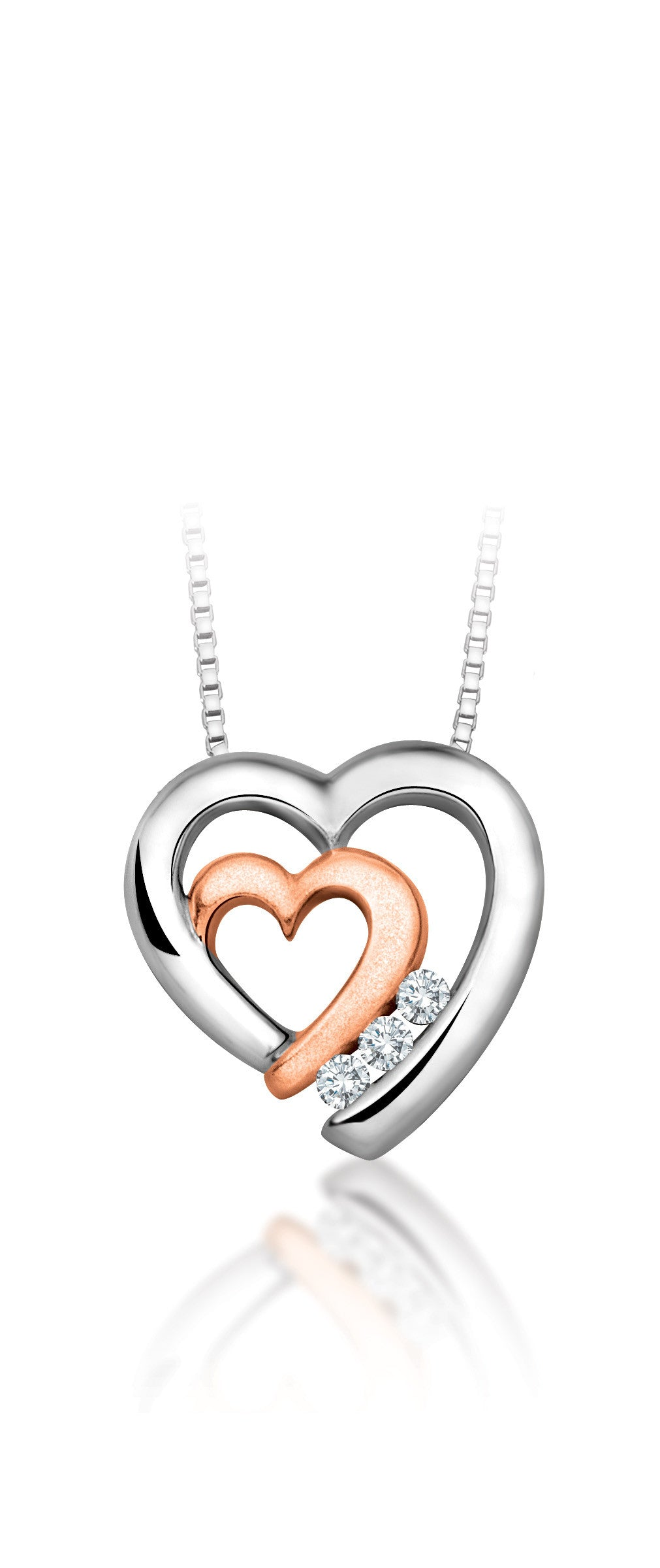 10Kt White Gold with Peek-a-boo Rose Gold Heart Pendant