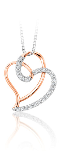 10Kt Rose Gold Tangled Heart Diamond Pendant