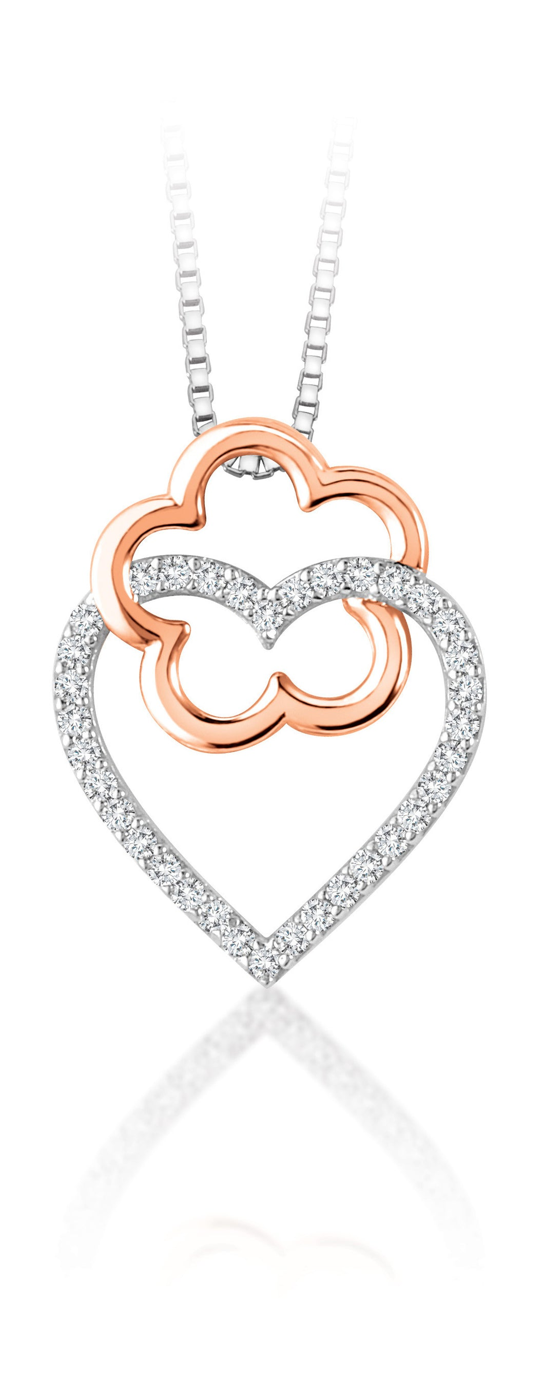 10Kt White Gold Diamond Heart Shaped Pendant