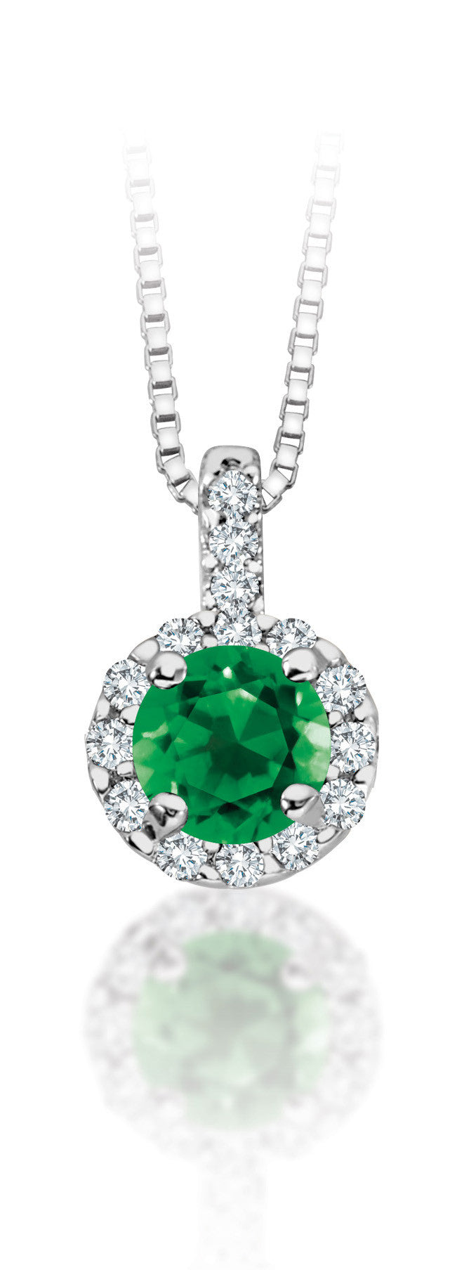 10Kt White Gold Emerald Diamond Halo Pendant