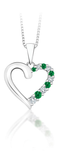10Kt White Gold Heart Shaped Emerald and Diamond Pendant