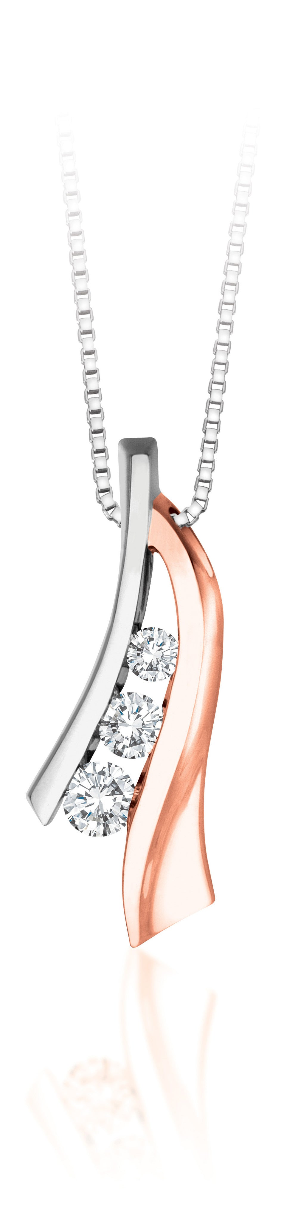 10Kt Rose Gold Diamond Cascading Pendant with White Gold Accent