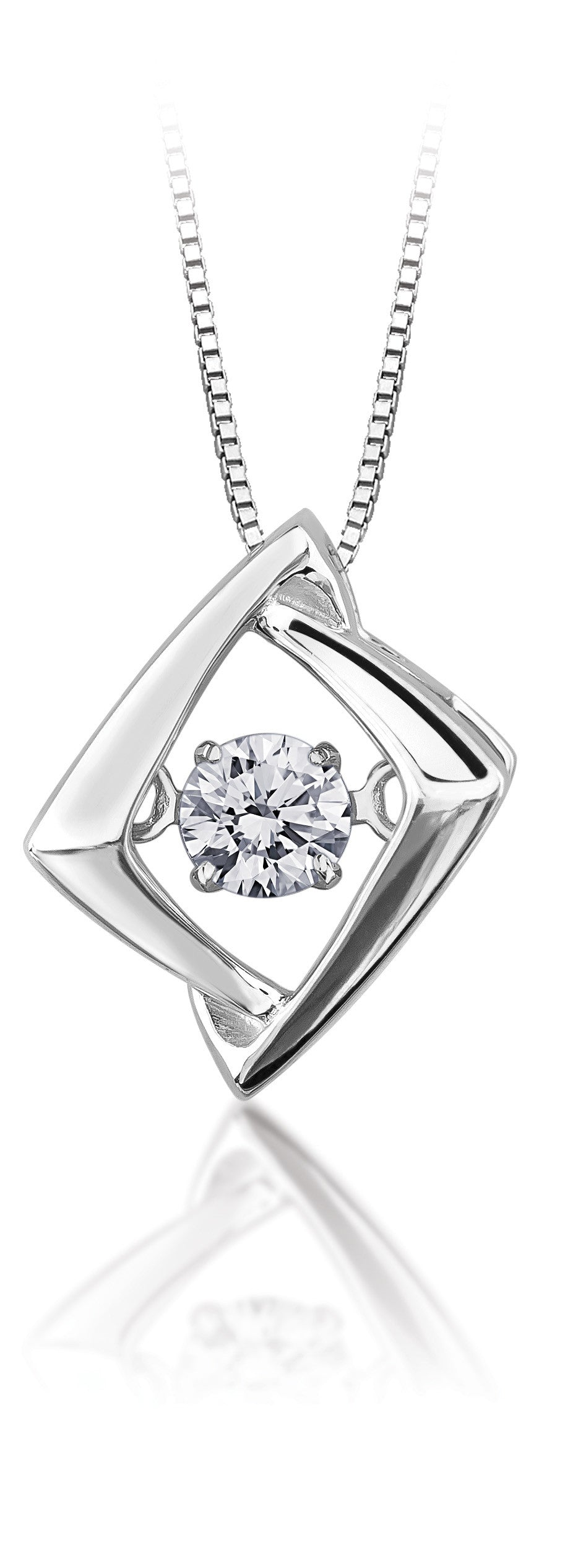 10Kt White Gold Shimmer Diamond Pendant