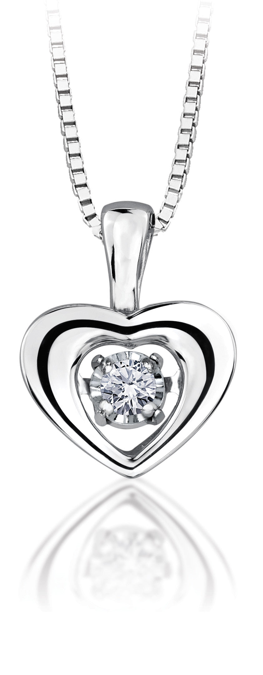 10Kt White Gold Double Heart Diamond Pendant PLT27076WDWP12