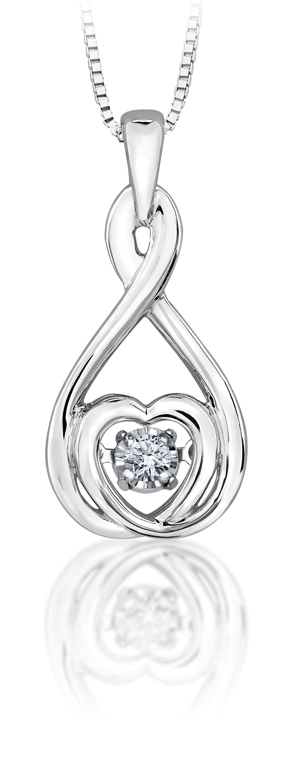 10Kt White Gold Shimmer Diamond Center Pendant