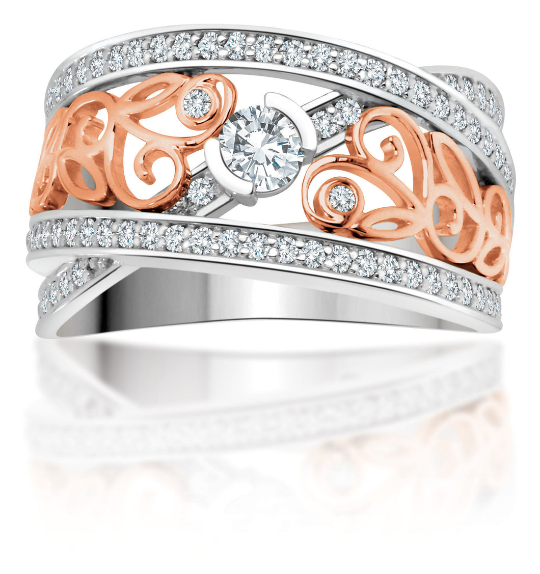 14Kt White Gold Diamond Ring with Rose Gold Floral Design