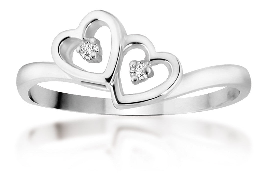 10Kt White Gold Joined Hearts Ring