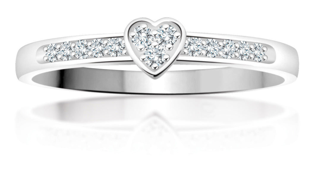 White Gold Diamond Band with Center Diamond Filled Heart